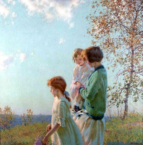 Mother And Children In A Meadow
