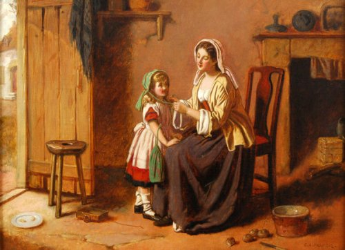 Mother Tying Her Daughter's Bonnet