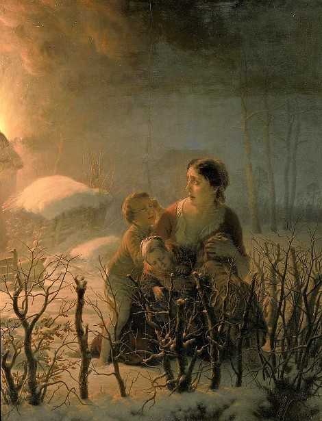 Mother With Her Children In Front Of A Burning House