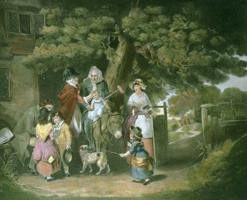 Sunday Morning - A Cottage Family Going To Church