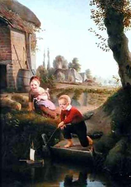 Two Children Playing With A Boat