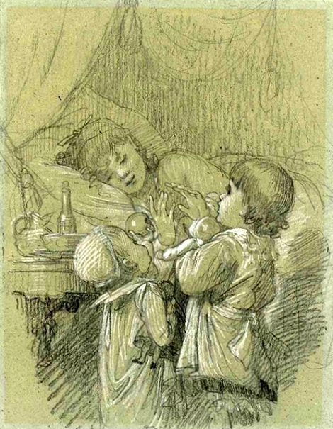 Two Children Wakening Their Mother - A Woman In Bed With Two Children Bringing Gifts