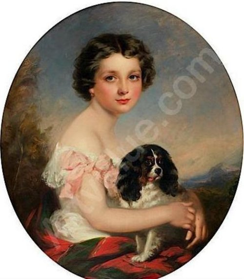 Young Girl With Her Dog King Charles