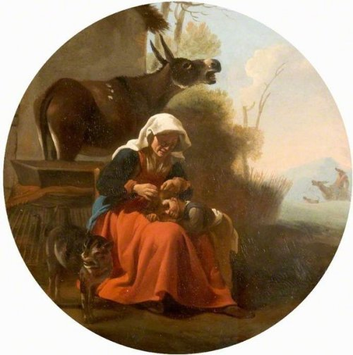 A Woman And A Child With Animals