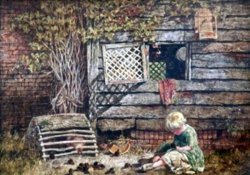 Child And Chicks Beside A Barn