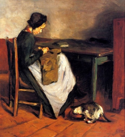 Girl Sewing With Cat