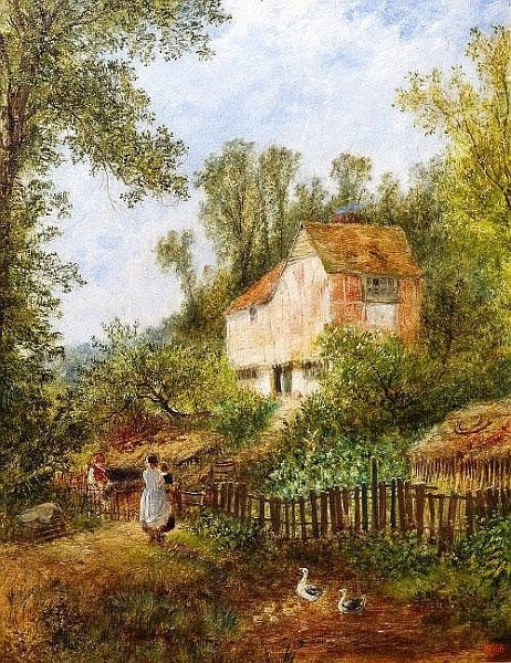 Mother And Child By A Cottage Garden