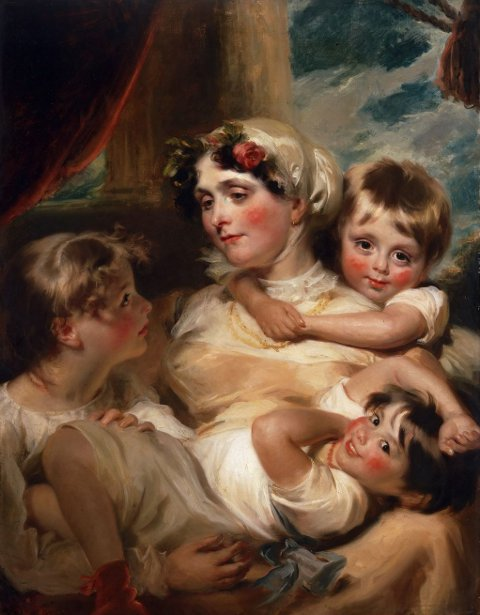 Portrait Of A Mother And Her Children (possibly Mrs. Weddell)