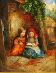 Two Children Seated Reading Books