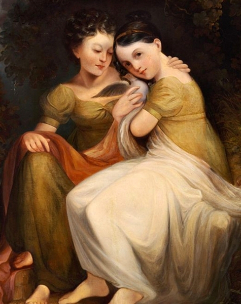 Two Girls With A Dove