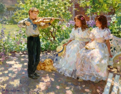 Violinist Playing For Two Young Girls