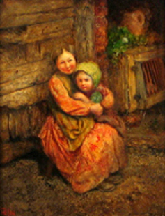 Woman And Child In A Doorway