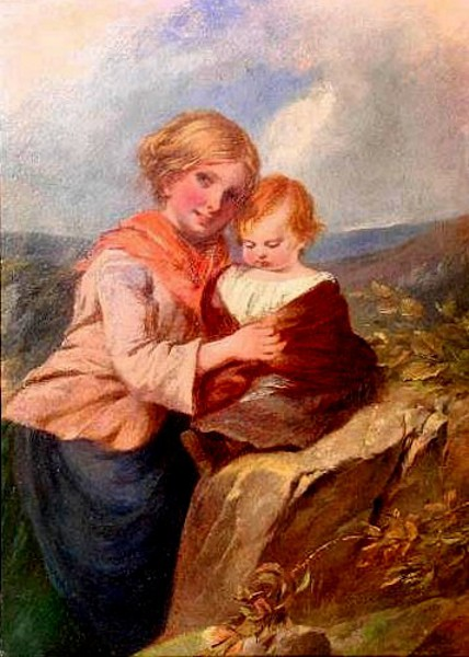 Young Mother With Her Daughter In A Moorland Landscape