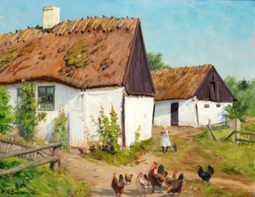 A little girl with a cat and chickens near a whitewashed cottage with thatched roof