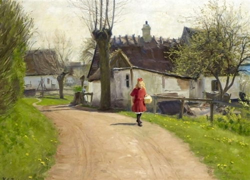 A Young Girl At A Small Village Road In Early Spring Time