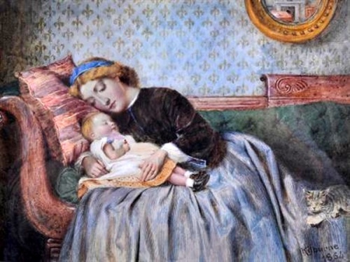 A Young Woman Resting With Her Child.bmp