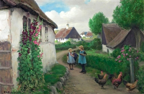 Country Street With Playing Girls And Hens