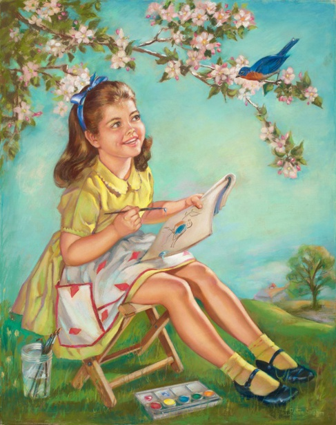 Girl Painting Bluebird