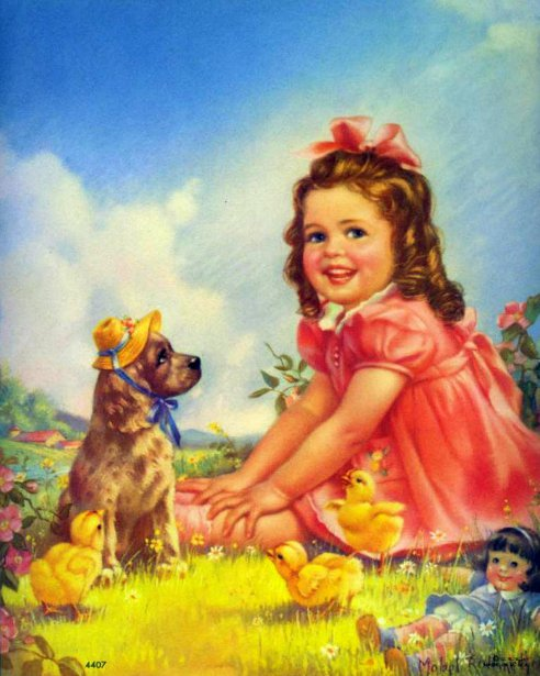 Little Girl Playing Dress Up With Dog