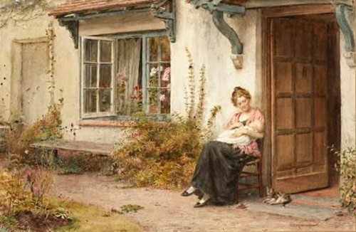 Mother And Child At The Cottage Door.bmp