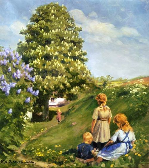 Playing children in spring landscape