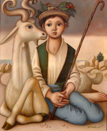 Shepherd With A Goat