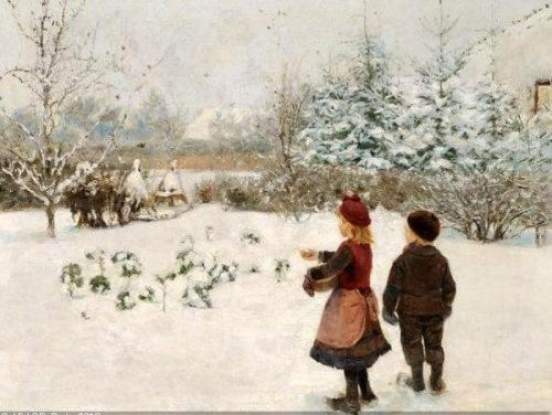 Two Children Feed The Birds In The Snow