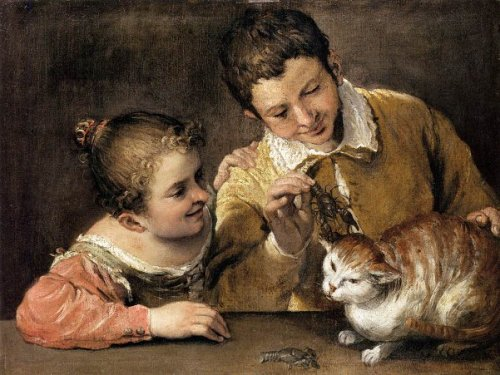 Two Children Teasing A Cat