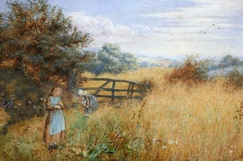 Two Girls Gathering Wild Flowers