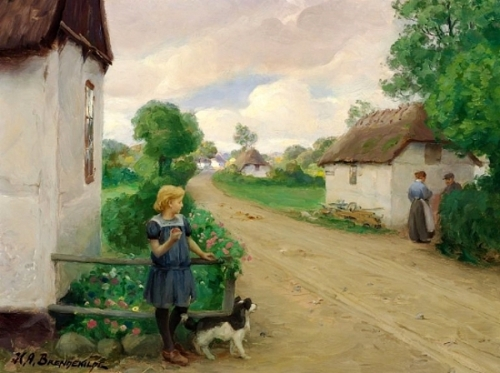 Village street with a girl at a white cottage.