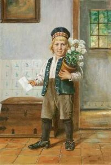 Young Boy With Flower Pot And A Letter For Grandpa
