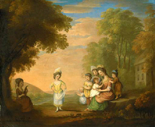 A Lady And Her Children By A Cottage