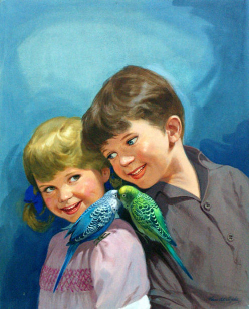 Boy And Girl With Budgerigars