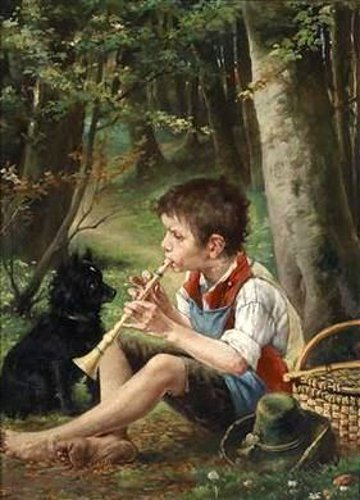 Boy Playing Flute With Dog - An Attentive Audience