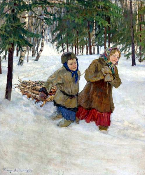 Children Carrying The Wood In The Snow, Winter