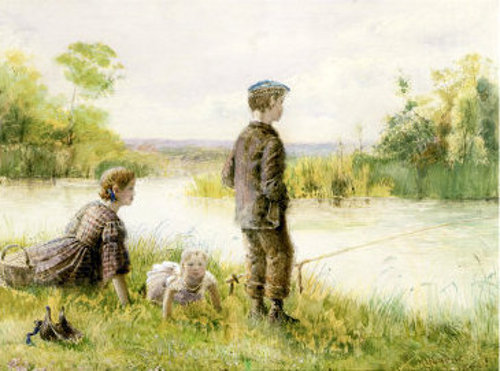 Children Fishing By A Stream