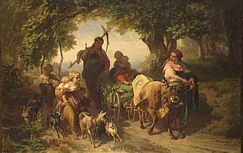 Family Returning From The Harvest