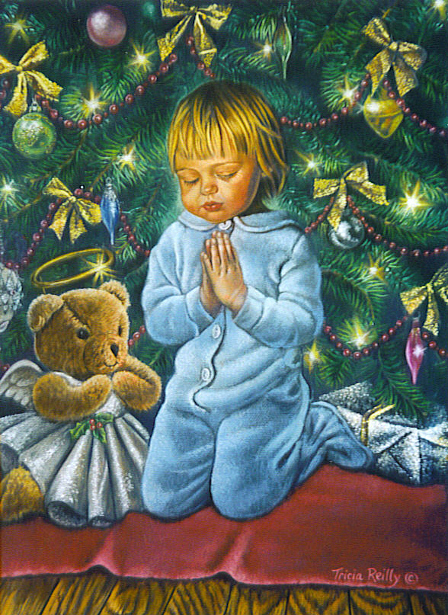 Girl Praying With Teddy