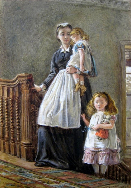 Governess With Two Girls
