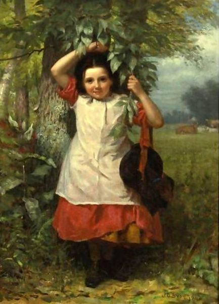 Little Girl In A Red Dress And White Pinafore