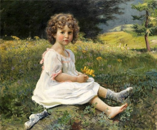 Little Girl In White Dress On A Meadow
