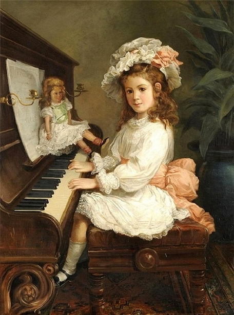 Miss Winifred Hudson Seated At The Piano