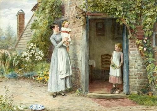 Mother And Children Outside A Cottage Door