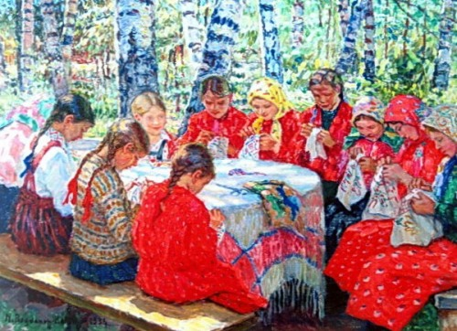 Needlework Classes In A Russian Village