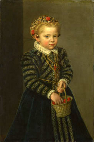 Little Girl With Basket Of Cherries