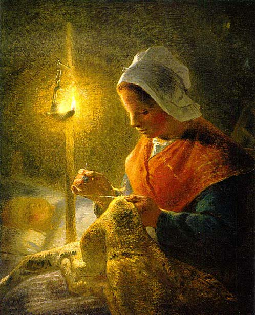 Woman Sewing By Candle light