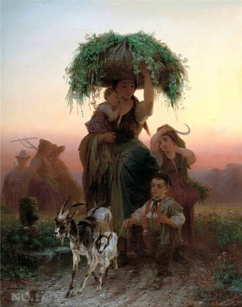 Young Woman Coming Home With Her Children From The Field Work