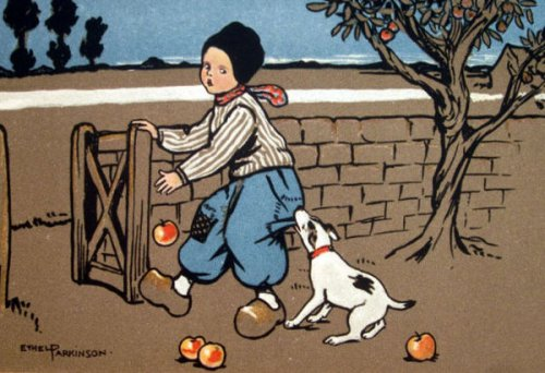 Boy With Dog And Apples