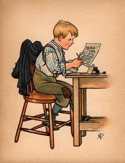 Boy Writing Santa A Letter