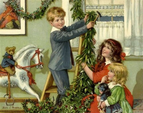 Children Hanging Christmas Holly